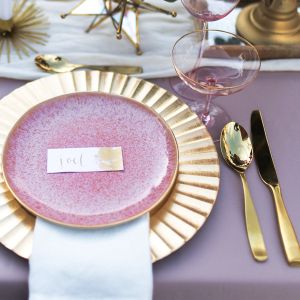 Bee Inspired Events - Gold and dusty pink tablescape
