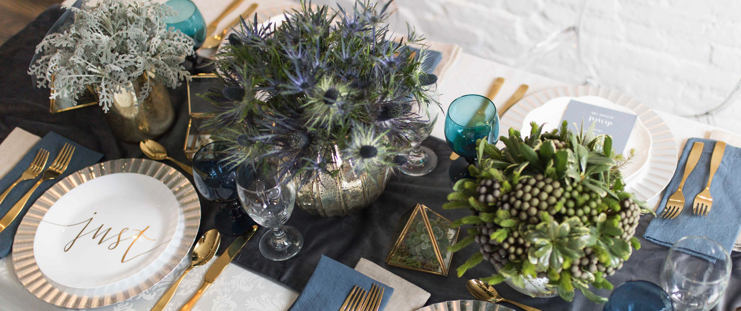 Bee Inspired Events - Blue theme tablescape