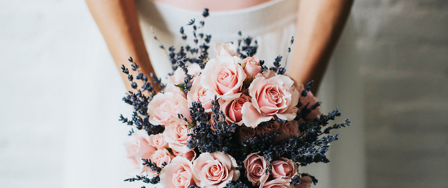 Bee Inspired Events - Bridal bouquet with pink roses and lavender